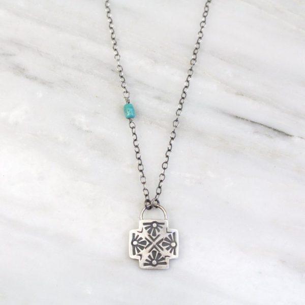 Sun Cross Chain Turquoise Necklace Sarah Deangelo