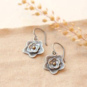 Layered Cactus Flower Mixed Metal Earrings Sarah Deangelo