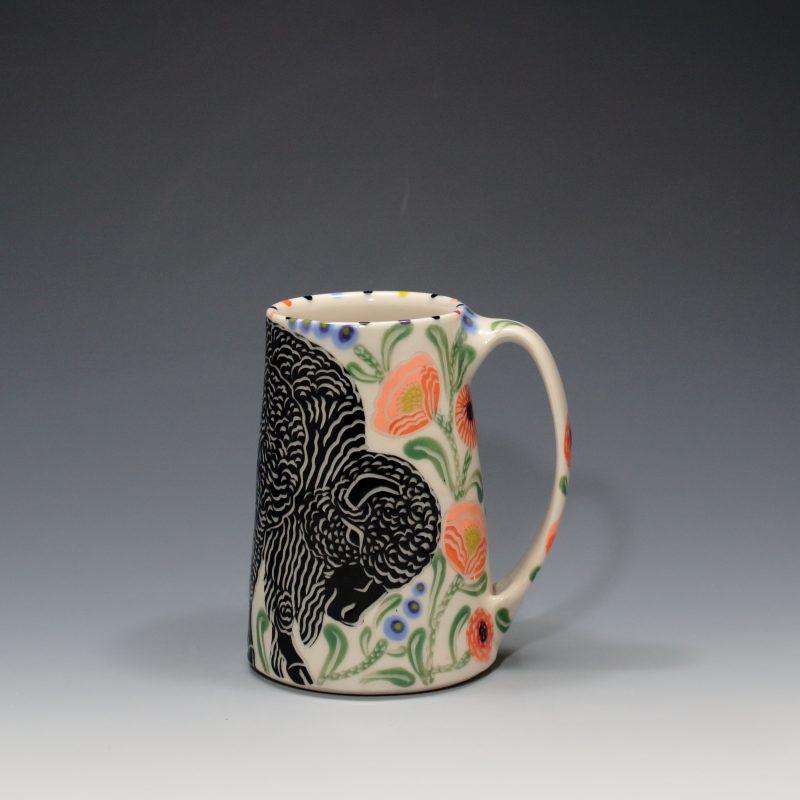 Bison Mug with Peach Poppies Sue Tirrell