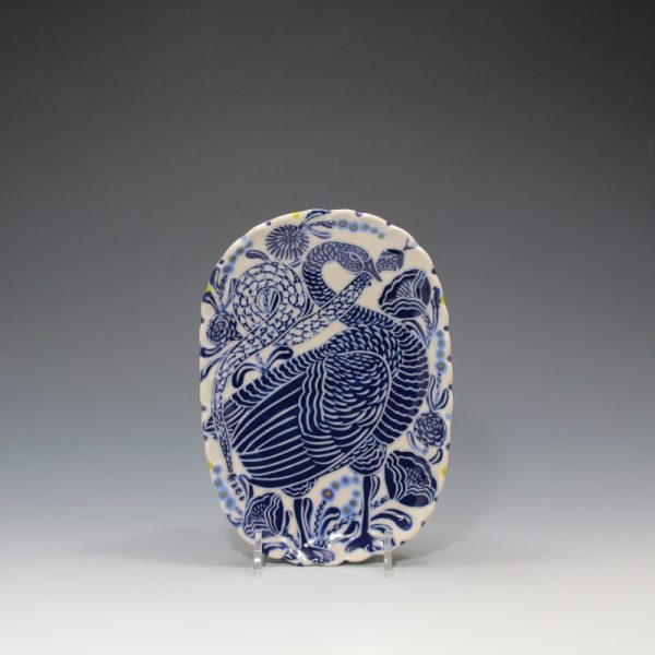 Blue Goose & Snake Butter Plate - 2 Sue Tirrell