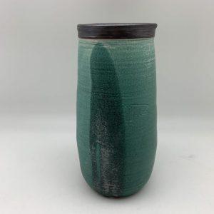 Black-Rimmed Green Vase by Margo Brown - 2297
