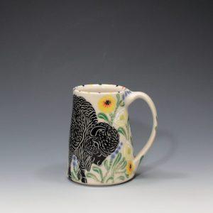 Bison Mug with White Poppies Sue Tirrell