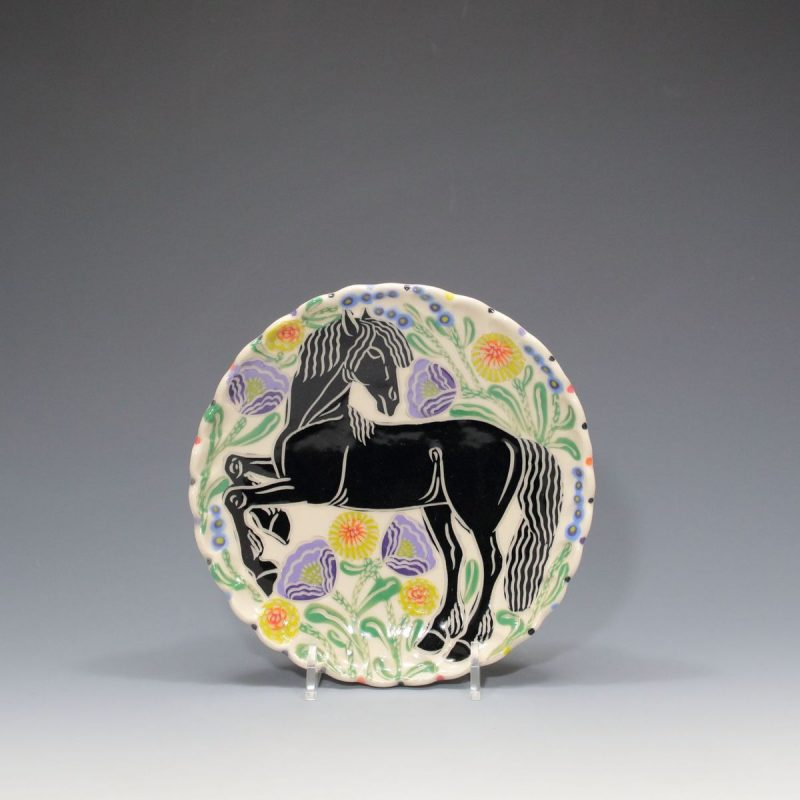 Black Horse Dessert Plate Sue Tirrell