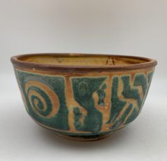 Green/Yellow/Brown Patterned Bowl by Margo Brown - 2425