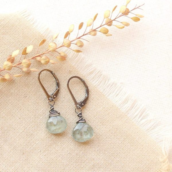 Moss Aquamarine Drop Silver Earrings Sarah Deangelo