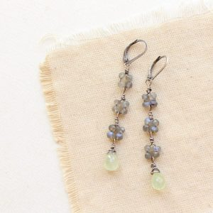 Labradorite & Prehnite Long Earrings