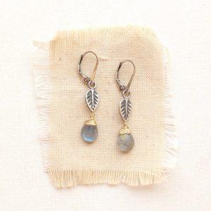 Leaf & Labradorite Mixed Metal Earrings Sarah Deangelo