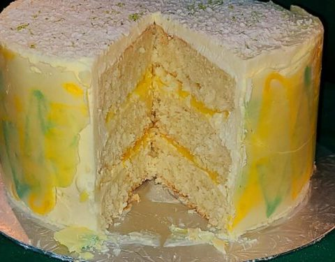 Coconut White Chocolate Cake with lime curd filling