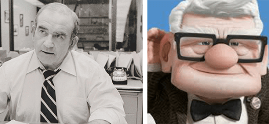 Ed Asner as Lou Grant and Carl Fredrickson in Up