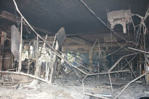 Bomb blasted interior of bank (Lamu studio)