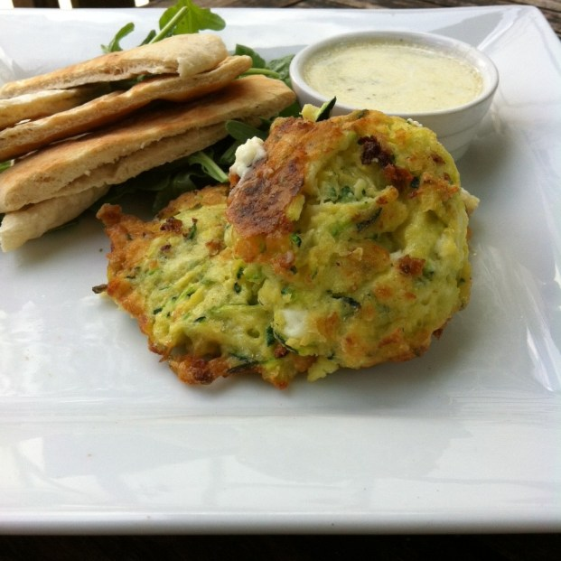 Courgette and feta fritters with lemon and mint dipping sauce