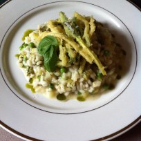 Courgette, sorrel & pea risotto with zucchini fritti and basil oil