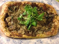 Perl Las tart with watercress and walnut pesto