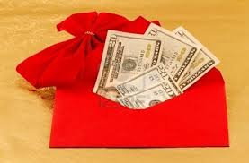 red envelope with cash