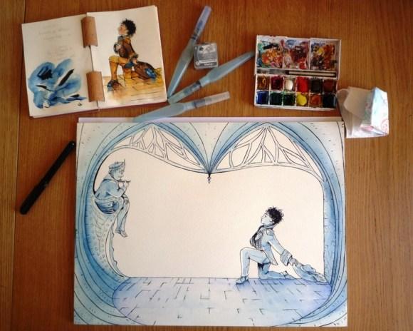 Illustration en cours pour La Petite Princesse qui n'aimait rien : encre de Chine et aquarelle.