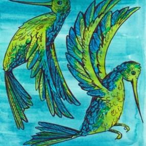 Motif Colibris - encre de Chine, encres et peinture aquarelles - tous droits réservés