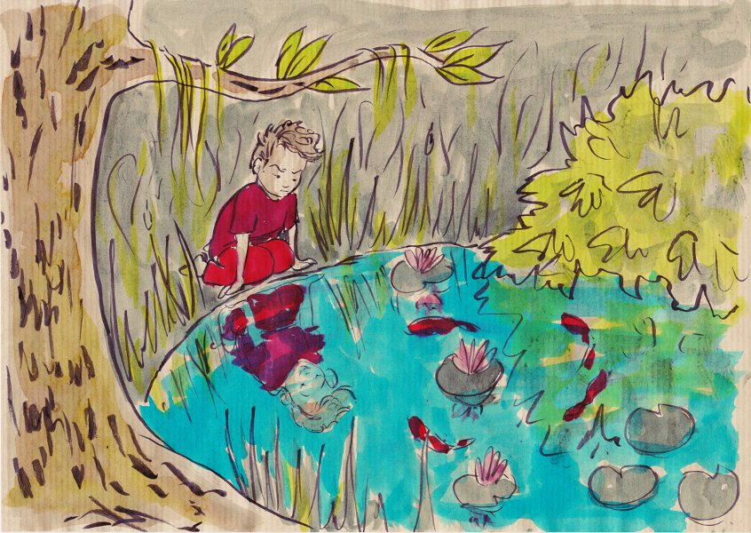 Le reflet moqueur - encre de Chine noire et encres végétales sur papier kraft