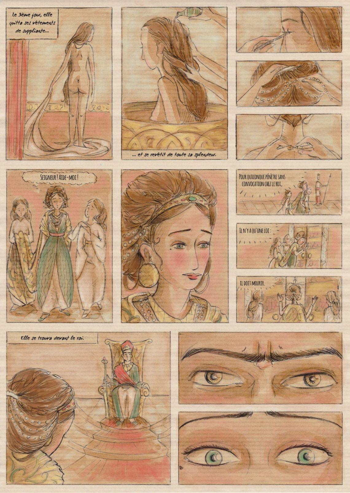 Esther - bande-dessinée - stylo bille et café sur papier kraft, numérisation et lettrage numérique (Clip Studio Paint)