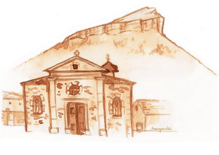 Illustration faire-part de mariage : église Saint Victor de Meylan et Chamechaude