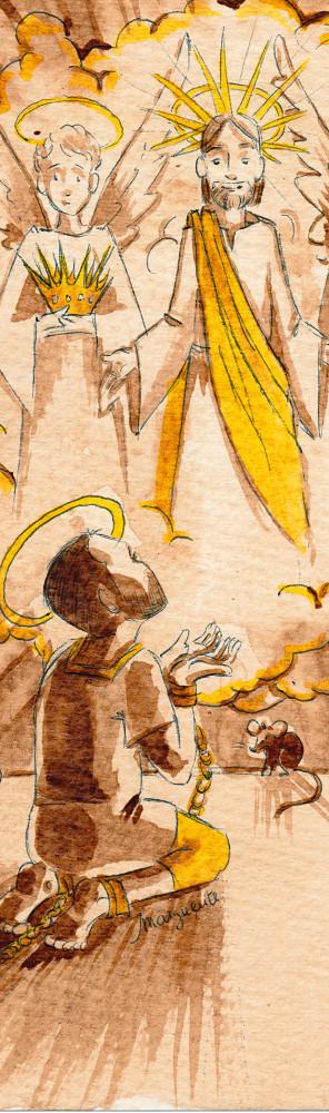 Illustration pour signet de baptême - Saint Théodore dans sa prison - café, stylo bille, encre végétale (Bouton d'or)