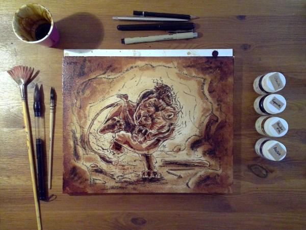 Héraclès et le Lion de Némée : ombres au café ; pigments végétaux