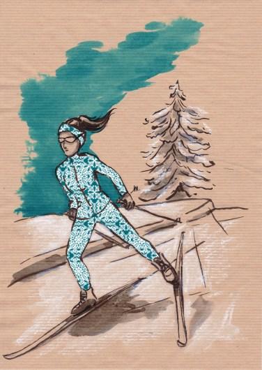Skating - encres sur papier kraft, motifs numériques (Clip Studio Paint).