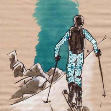 Ski de randonnée - encres sur papier kraft, motifs numériques (Clip Studio Paint).