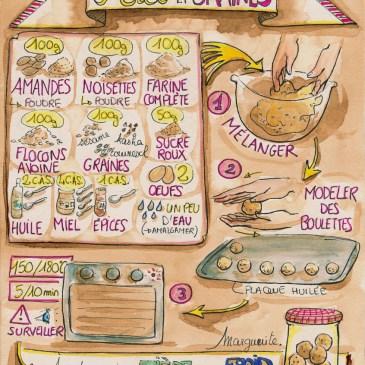 Mes recettes dessinées : Boulettes Magiques Miel et Graines