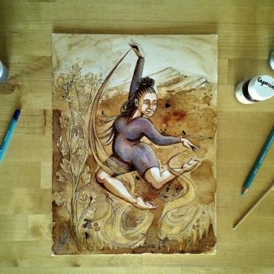 Danseuse - couleurs (encres végétales, pigments, crayons aquarellables)