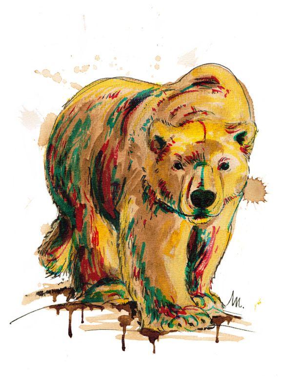 Petit bestiaire d'espèces menacées : Ours polaire - illustration