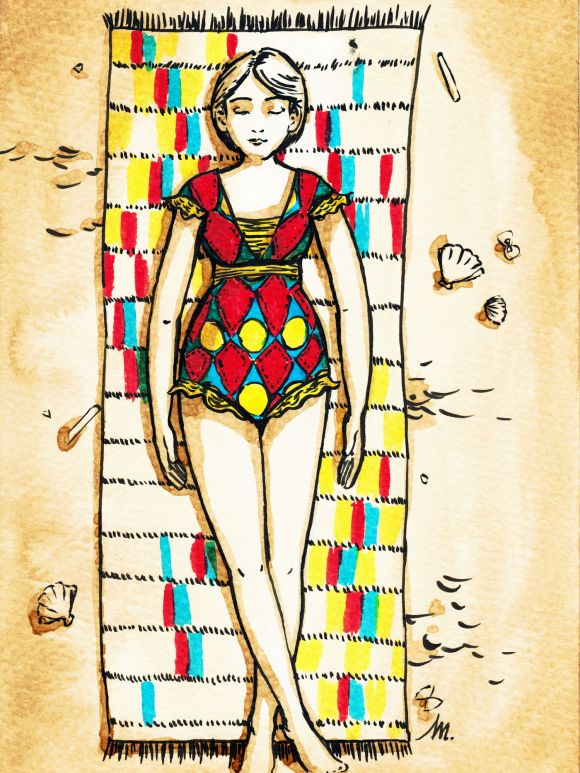 Femme en tenue de bain - illustration
