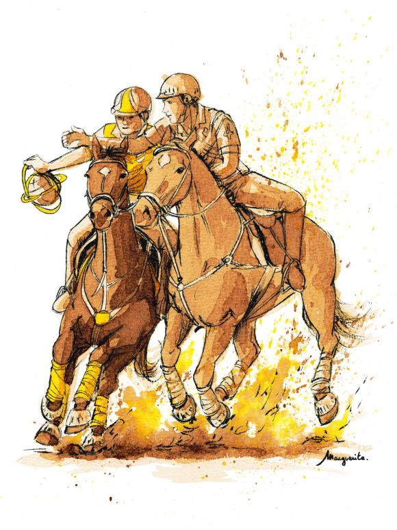 Horse-ball - sport équestre - illustration