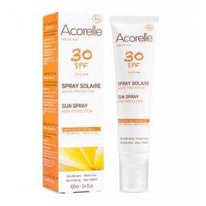 Le spray solaire acorelle spf30, une protection100% naturelle aux filtres mineraux, sans effet blanc, résiste à l'eau. Disponible sur votre boutique Marguette.com