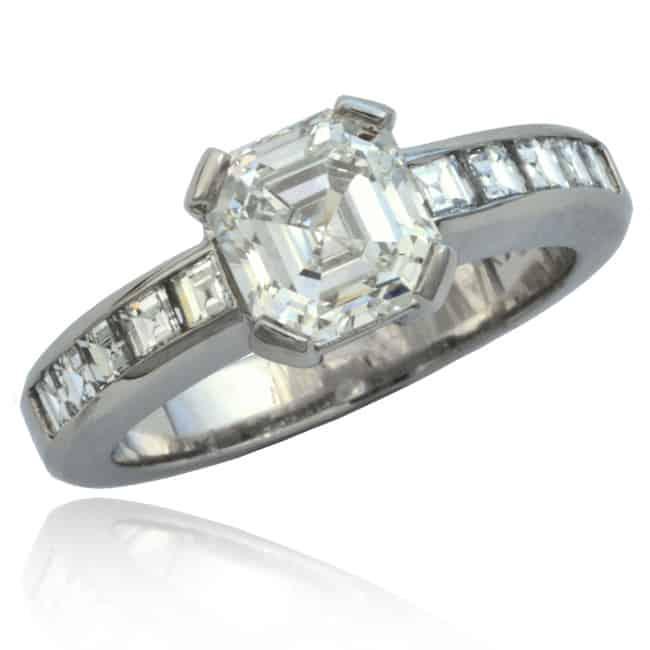 Square Diamond Engagement Ring Image