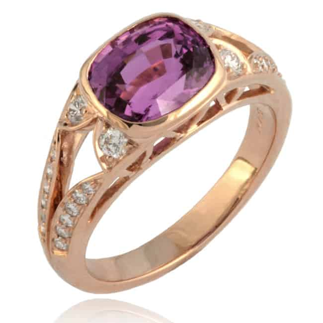 Cushion-shape Pink Sapphire & Diamond Ring Image