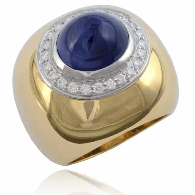 High Dome Sapphire & Diamond Ring Image