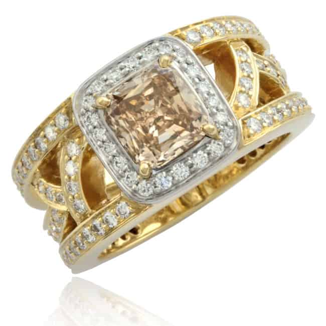 Champagne Diamond Lattice Ring Image