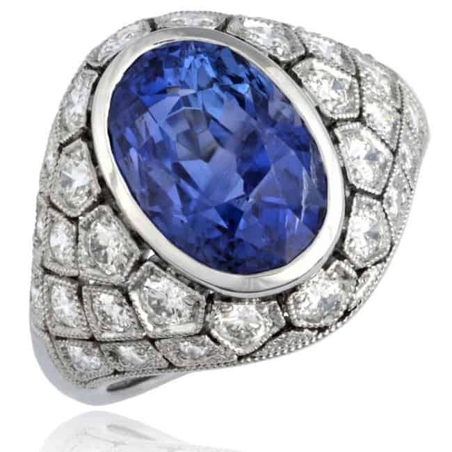 Bombé Oval Sapphire & Diamond Ring Image