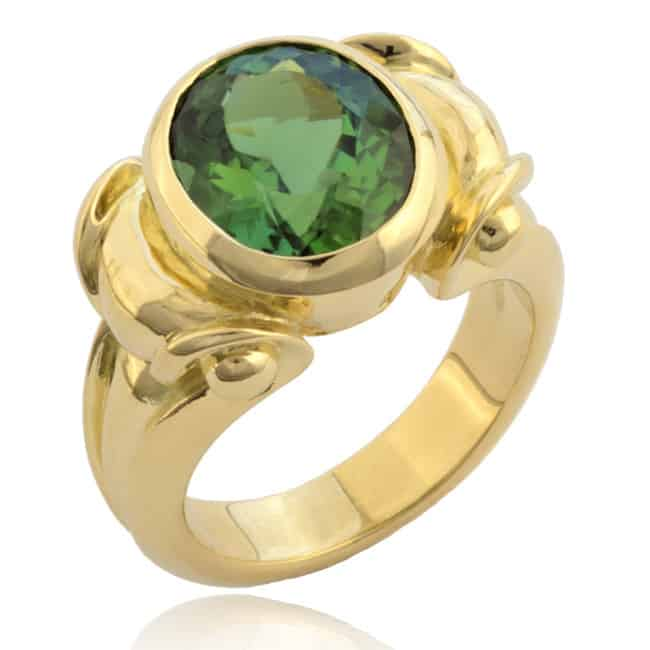 Oval Green Tourmaline Ring Image