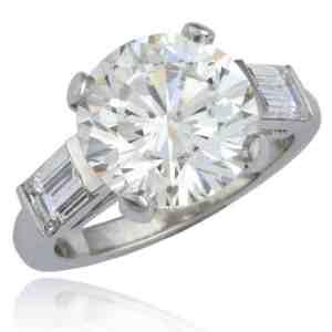 Round & Baguette Diamond Engagement Ring Image