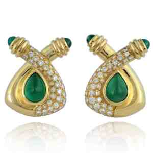 18ky Emerald & Diamond Earrings Image