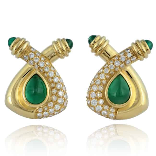 18ky Emerald & Diamond Earrings Image