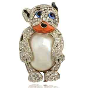 Vintage Russian Bear Pearl Brooch Image