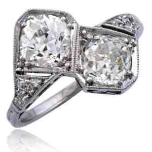 """Art Deco """"Forever Us"""" Diamond Platinum Ring Image"""