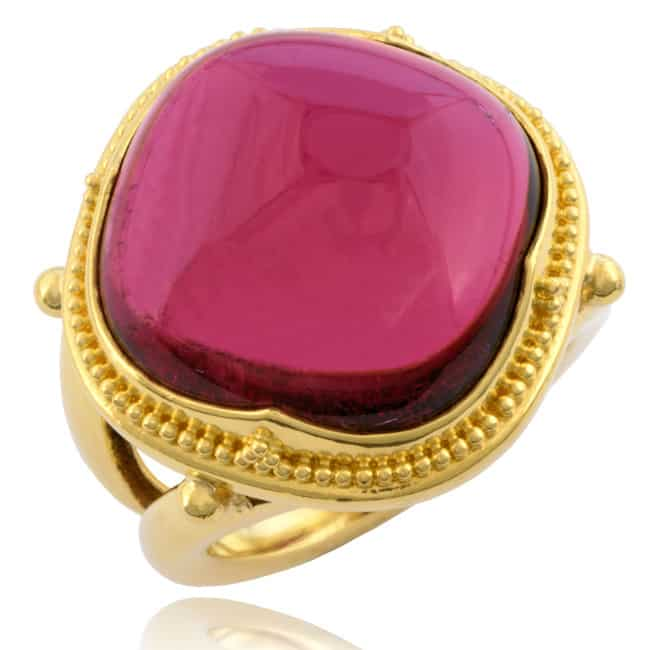 "Red Tourmaline Ring, ""Etruscan"" design. Image"