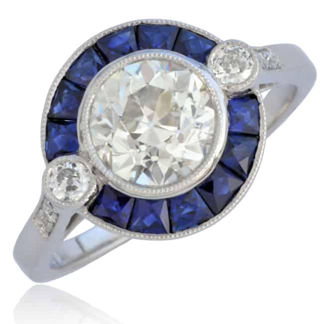 Diamond & Sapphire Engagement Ring Image