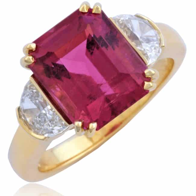 Pink Tourmaline Ring with Half-Moon cut Diamonds Image