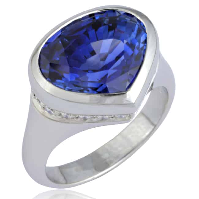 Specialty cut Blue Sapphire Ring Image