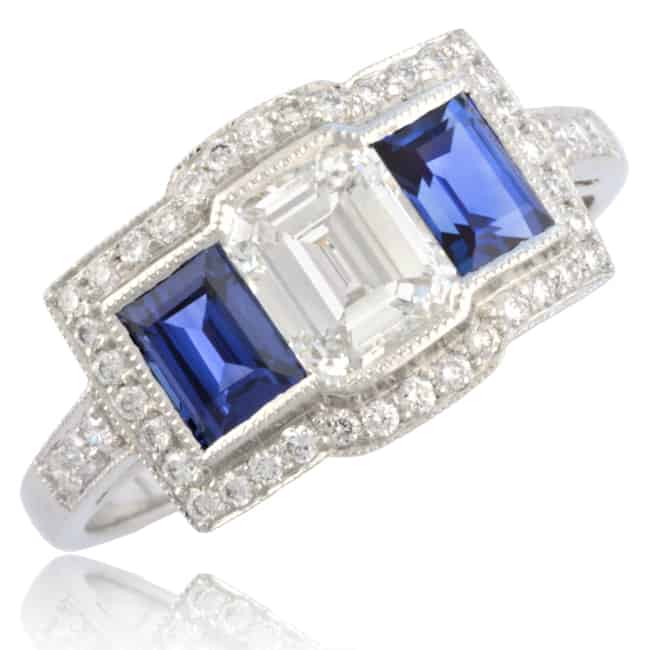 Emerald-cut Diamond & Sapphire Engagement Ring Image
