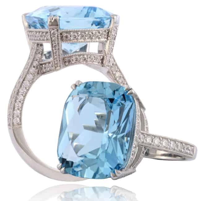 Blue Aquamarine & Diamond Ring Image